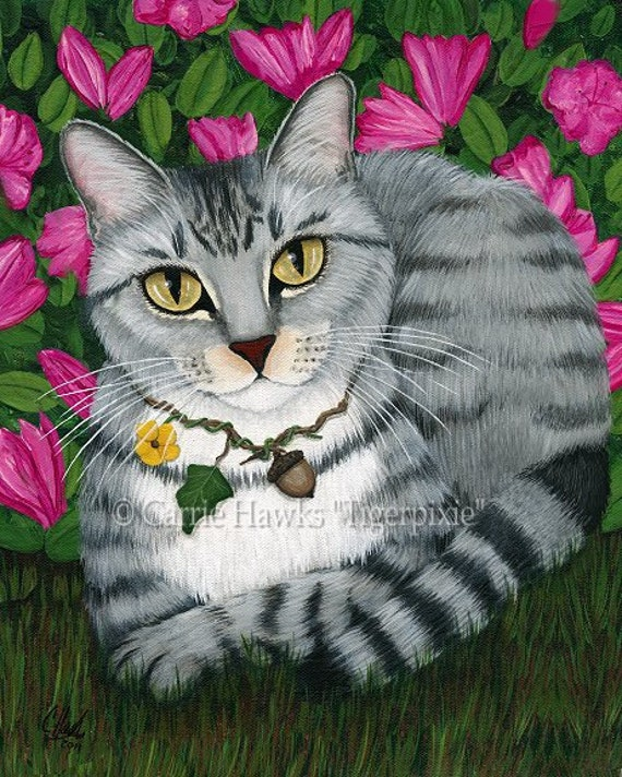 Tabby Cat Garden Azalea Flowers Fantasy Art Limited Edition Canvas Print 11x14
