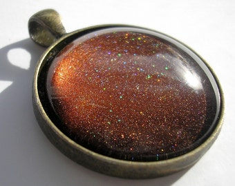 Speckled Mahogany - Glass Pendant made with Nail Polish - 30mm Round Pendant in choice of Bezel Color