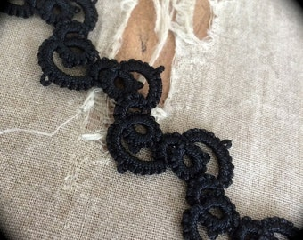 Tatted Lace Bracelet - Rickrack - Black