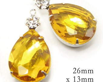 Golden Topaz Glass Beads, Silver Plated Brass Settings, Pear Teardrop, 26mm x 13mm, Rhinestone Jewel, 18mm x 13mm, Color Choice,  One Pair