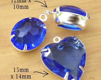 Sapphire Blue Vintage Glass Beads, Heart Pendant, Silver Plated Brass Settings, 12mm x 10mm, Oval, One or Two Rings, Glass Gems, Rhinestones