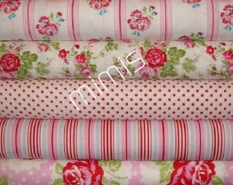 DELILAH Fabric / Tanya Whelan Fabric /  5 Half Yards /  RED & WHITE- Cotton Quilt Fabric Bundle