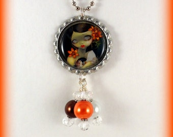 """Jasmine Becket-Griffith  """" Tiger Lily, Tiger Nautilus """"  necklace"""