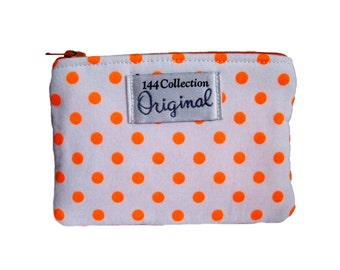 Neon Orange Wallet, Neon Change Wallet, Orange Polka Dots Small Coin Wallet, Neon Coin Purse, Change Purse, Fabric Pouch, Fabric Wallet