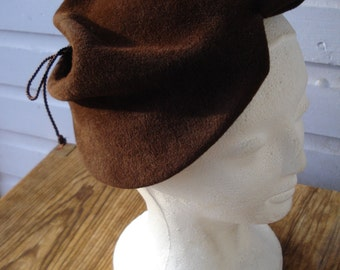 Vintage 1940s Hat Sculptural Brown Wool Tilt Hat 2014130
