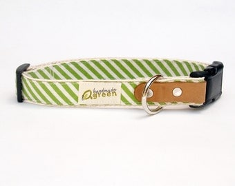 Grass Green Stripe.  Hemp Dog Collar. Available in Small Medium Large.