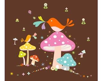 "Birdie Mushroom Print...  Giclee print of an original illustration (7.75"" x 7.75"")"