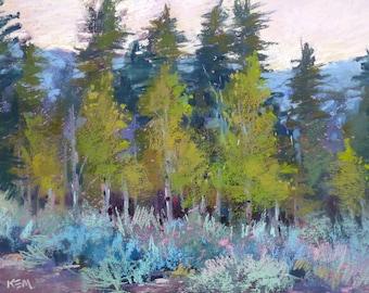 California Impressionist Landscape ASPENS Original Pastel Painting  Karen Margulis
