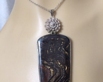 """Tiger Eye Sterling Silver Pendant on Sterling Chain 18"""""""