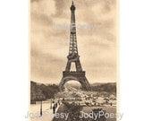 Instant Digital Download Vintage French Postcard Eiffel Tower Paris France 1914