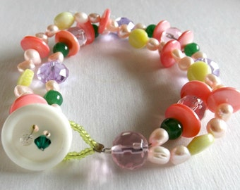 Pastel Colored Double Stranded Beaded Bracelet