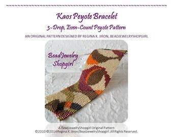 PATTERN TUTORIAL – Kaos Peyote Bracelet, 3-Drop, Even-Count Peyote Pattern - Digital Download