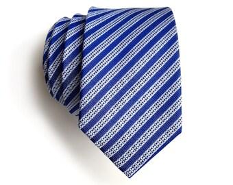 "Linen necktie, French blue diagonal stripe. ""The Riverside."" Dapper silk & linen blend men's tie. Bias cut nautical blues."