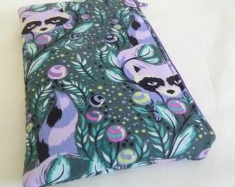 Purple Raccoon Sleeve for Kindle Fire or Kindle Keyboard padded with zipper closure