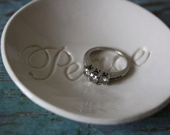 Ring Dish Ring Bowl Peace Design in Classic White