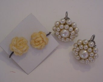 5 pair vintage SCREWBACK and clip-on earrings
