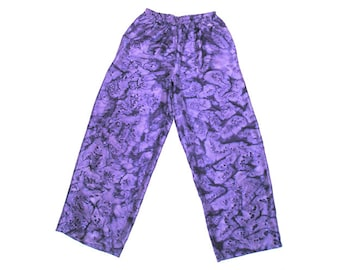 Hand Dyed Silk Lounging Pants, Wide Purple Palazzo Pants, Hand Painted Silk Habotai, Pull on Harem Pants, Size 6 to 8 with elastic wais.