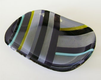 SALE-Serving Dish in Grey Fused Glass with Chartreuse Turquoise