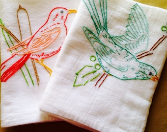 Birds of a Feather Hand Embroidered Dish Towels - Marsh/Holly
