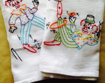 Clowin' Around Hand Embroidered Dish Towels