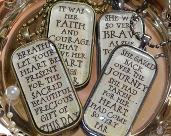 POETRY PENDANTS glass inspirational healing journey art therapy recovery ball chain survivor word phrase necklace