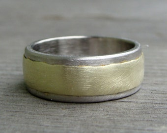 Recycled Wedding Band / Ring - 14k Green Gold and 950 Palladium, 8mm Wide, Mens or Womens, Two Tone, Ethical, Eco-Friendly, Made to Order