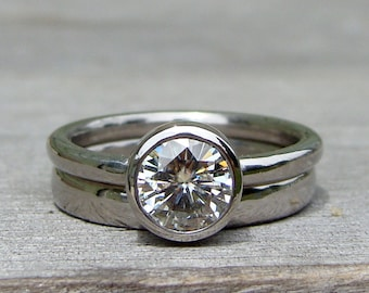 Forever Brilliant Moissanite and Recycled 950 Palladium Alternative Engagement Ring and Wedding Band, Eco Friendly, Made to Order