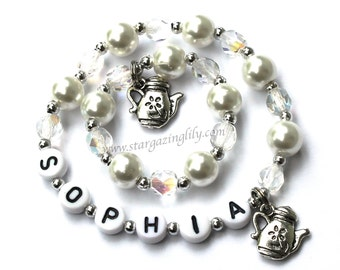 Girl and Doll Jewelry Me & My Doll Personalized Name bracelet set Glass Pearls, Crystals, Charm. Matching Set AG Am Girl 18 in size