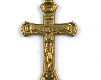 22mm Raw Brass Crucifix (2 Pcs) #150