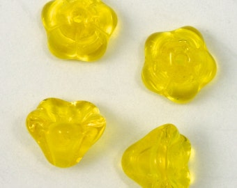 8mm Transparent Yellow Bell Flower (4Pcs) #1853