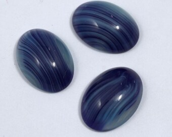 13mm x 18mm Blue Grey Stripe Oval Cabochon #516