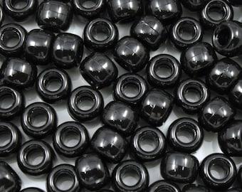 6mm x 9mm Black Pony Plastic Craft Bead