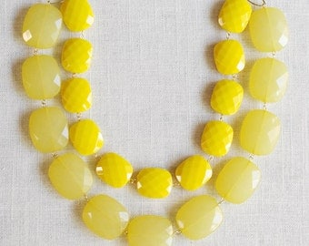 wakefield . lemon & butter . yellow color blocked statement necklace