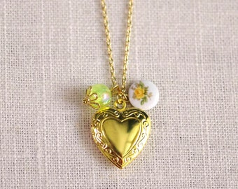 CLEARANCE . key lime roses (bits and pieces sale) // gold heart necklace . locket charm necklace . flower charm necklace