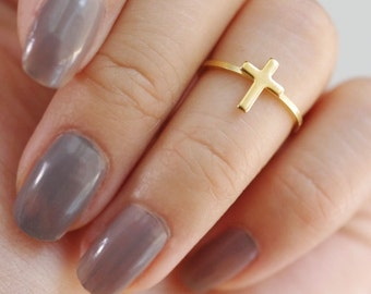 cross midi ring . vertical cross ring . simple cross ring . cross knuckle ring . minimalist ring . cross stacking ring // 4VCRS