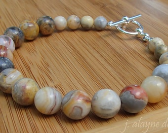 Old Crazy Lace Agate Bracelet. Banded Agate. Multicolor Bracelet. Chalcedony Bracelet. Natural Gemstone Bracelet.