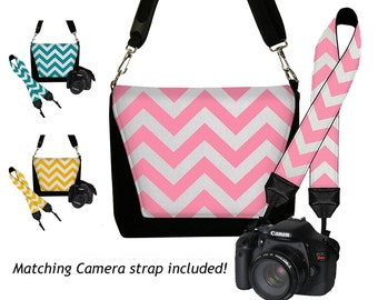 SALE SET Chevron Dslr Camera Bag and Dslr Camera Strap, Camera Bag Slr and Camera Neck Strap, choose pink teal yellow MTO