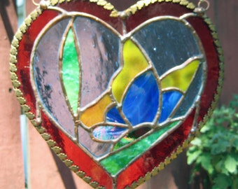 Butterfly in Heart, Yellow & Blue, with Red Border,  in Irridized Stained Glass
