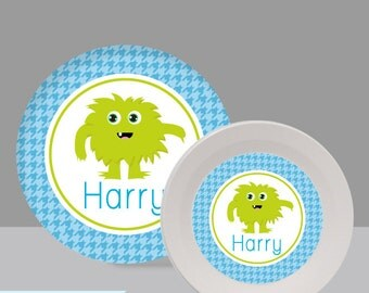 Monster Melamine Bowl or Plate Custom Personalized with Childs Name