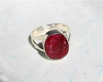 Red Ruby Ring Sterling Silver Gemstone Size 7.5