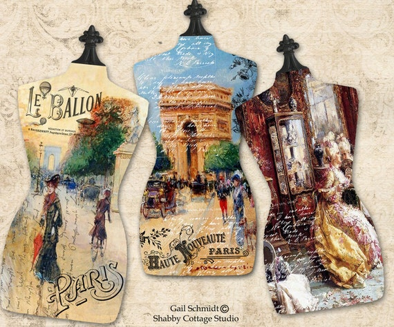INSTANT DOWNLOAD Torso Dressmaker Form Paris French Tags Scrapbooking Greeting Card jewelry Altered Art Journal Embellishments