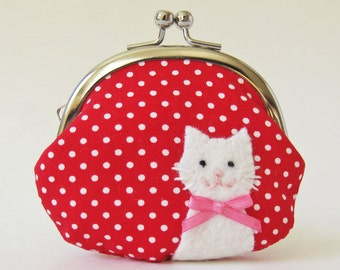 Cat coin purse change purse kiss lock clasp purse white cat red polka dots pink bow cute kawaii cat lover small purse pouch