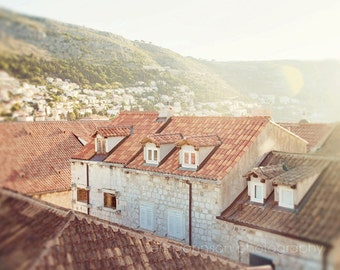 croatia photography, dubrovnik, old town, orange decor, travel photography, beige art, europe, Orange Rooftops D08