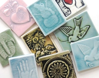 Small decorative ornament tiles - 10 pieces of handmade tiles - clearance or seconds