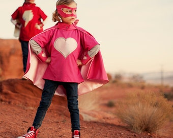 Kids Superhero Cape Little Hero Cape - Hot Pink and Light Pink - Blank