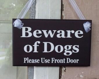 Beware of Dog Please Use Front Door Wood Vinyl Sign Caution Warn Direct Sign Outdoor Garden Yard Premises Home Gate Door Entry Hang Plaque