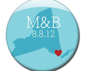 100 Wedding Favor State Theme 1 inch pinback buttons - Customize state, initials, and color