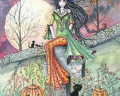 October Chill Fantasy Art Original Witch Cat Halloween Archival Giclee Print 5 x 7