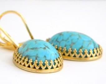 German Glass Aqua Blue Crown Earrings