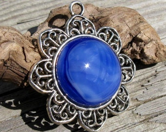 Silver Flower with Fused Blue Clouds Glass